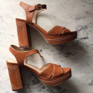 Via Spiga Tan Leather Block Heel